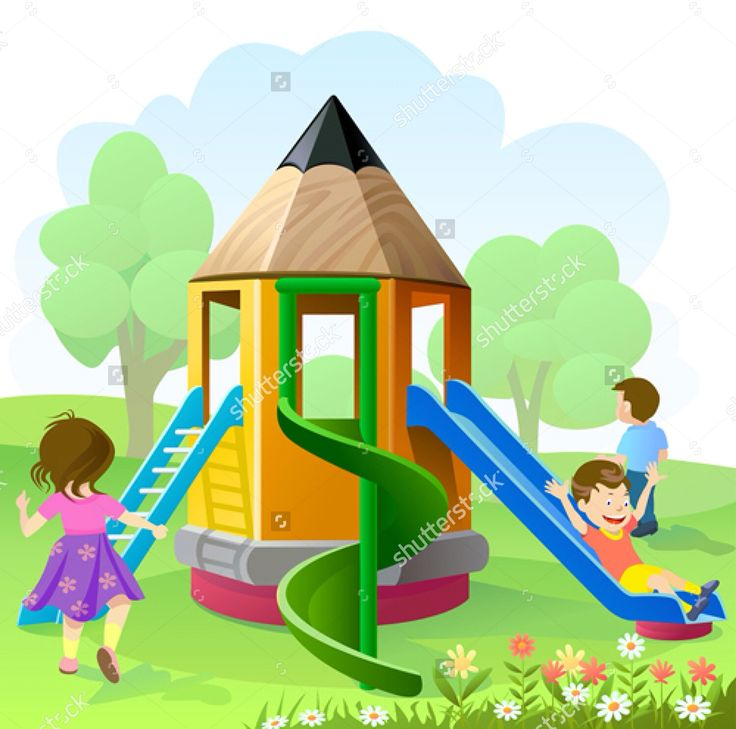 Kids Playing Playground Clipart