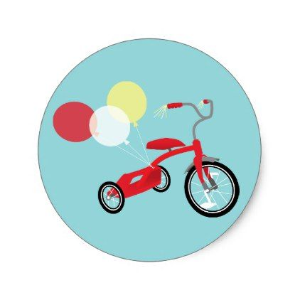 Red Tricycle Graphic Classic Round Sticker - toddler youngster infant child kid gift idea design diy