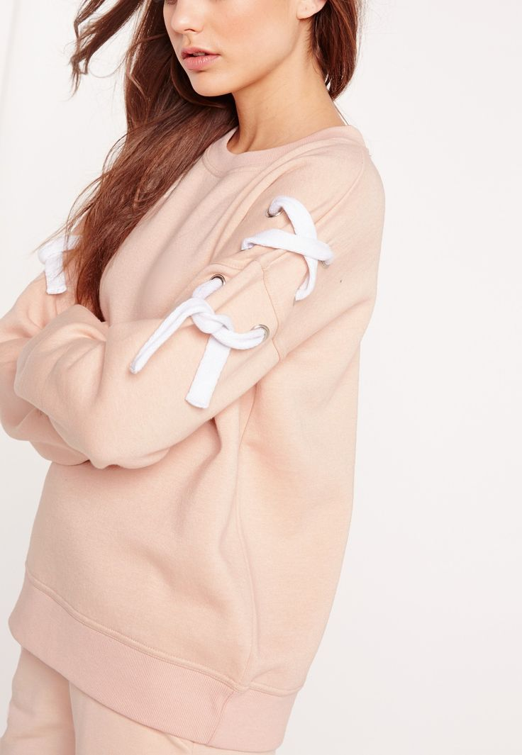 Missguided - Chunky Lace Up Sleeve Sweatshirt Nude