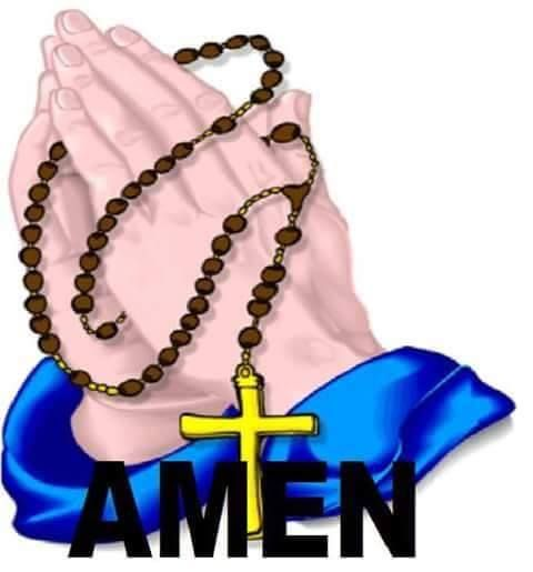 Amen: Praying hands with Rosary