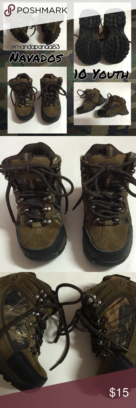 Nevados Brown & Camo Boots💚10 Toddler Boys EUC 💚 In like new condition. No signs of wear and Conner didn't want them. They are VERY sturdy boots with brown/black sole, brown suede outline w/ a Camo print area on both sides of the boots. I don't think these have ever been worn.. Nevados Shoes Boots