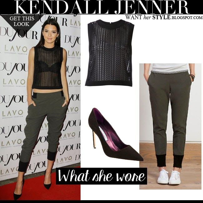 Kendall Jenner in black sheer Alexander Wang top with Line Dry green sweatpants and Manolo Blahnik pumps