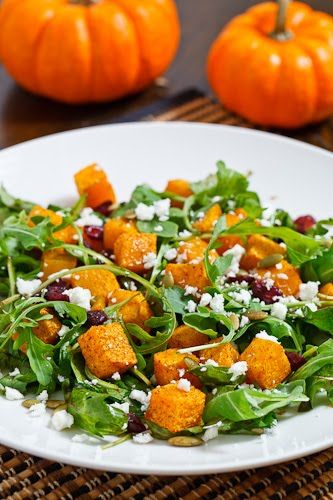 Festive Pumpkin, Cranberry, and Feta Salad, as made also by my good friend emily and also marks and sparks