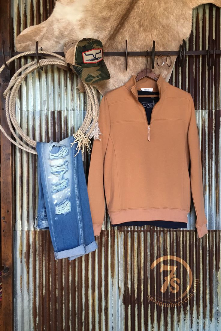 The Rosin - Camel quarter zip pullover sweatshirt. Carhart tan kind of color that your will fall in love with! Cowgirl style. Rodeo fashion. Women's Western Wear. Ranch style. Shop online: https://savannahsevens.com/products/the-rosin