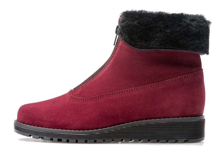 Palmroth ankle boot with front zipper burgundy suede