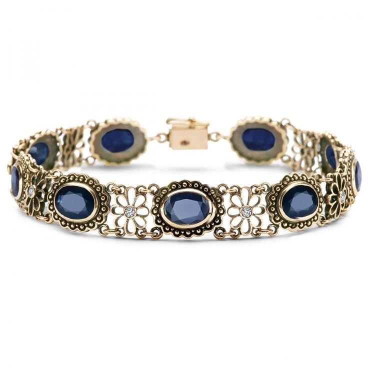 Kolekcja Wiktoriańska - bransoletka z brylantami i szafirami