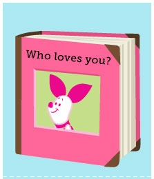 """Use a small photo album to create a book for your baby called """"Who Loves You?"""" Fill it with photos of friends and family and read it together during playtime."""