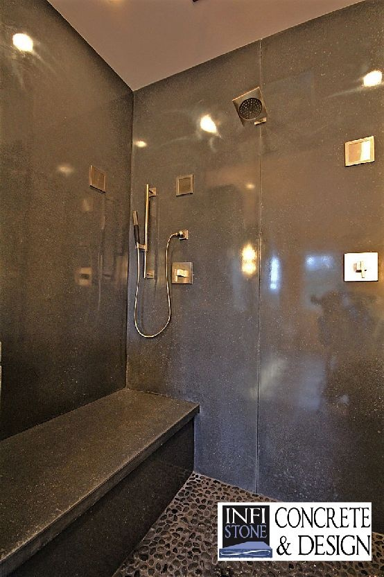 Concrete shower stall.