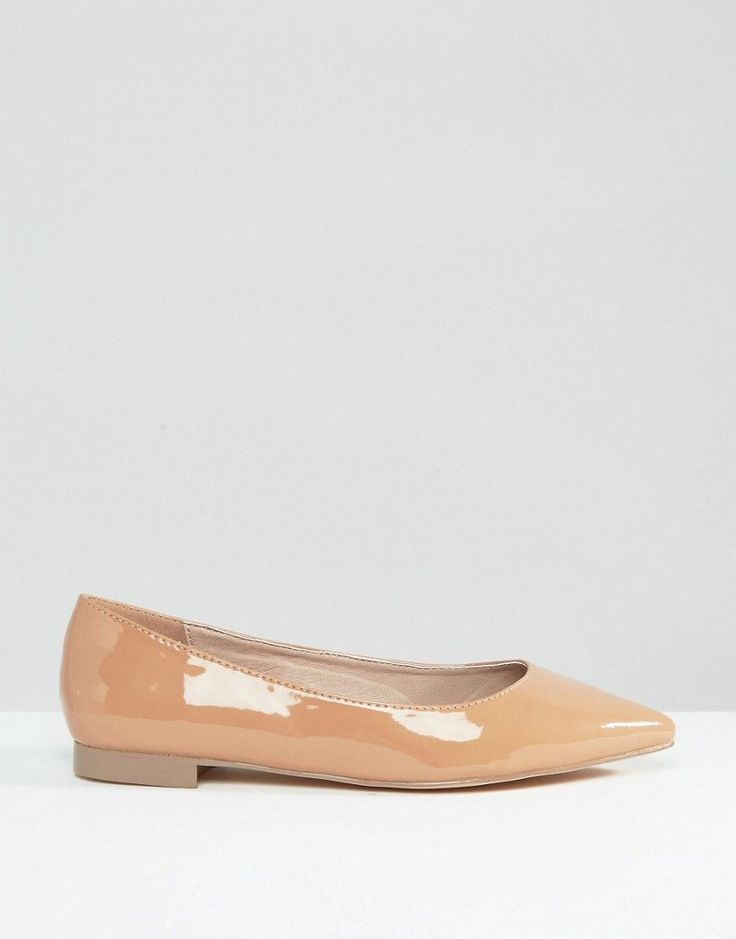 ASOS LACEY Wide Fit Pointed Ballet Flats - Beige