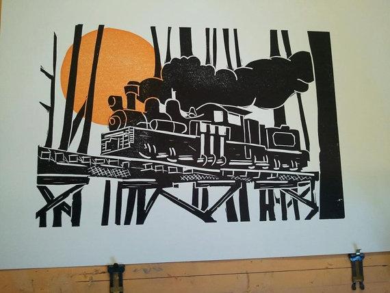 train woodcut print