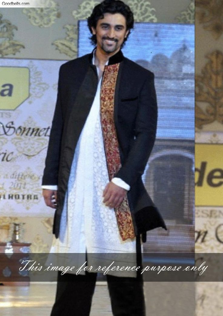 Kunal Kapoor in Manish Malhotra Black Sherwani Suit over White Kurta