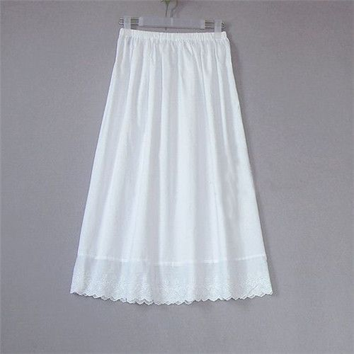 Women 100% Cotton White Solid Maxi Embroidery Half Slip With Lace Plus Size Long 55-80cm Sexy Dress Underskirt