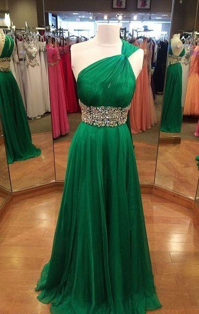 Long One Shoulder Sheath/Column Chiffon Prom Dresses 2017