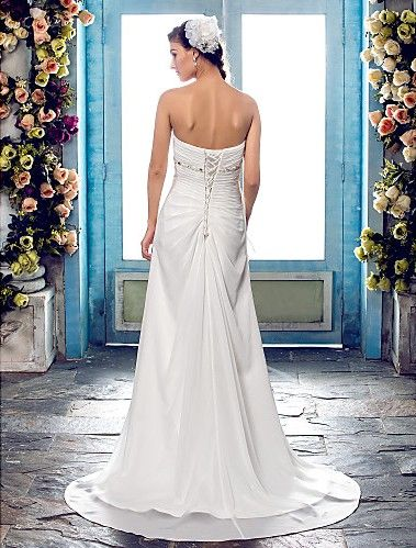 A-line Wedding Dress Sweep Brush Train Chiffon Sweetheart Strapless With Crystal Detailing and Criss Cross Easebuy! Free Measurement!