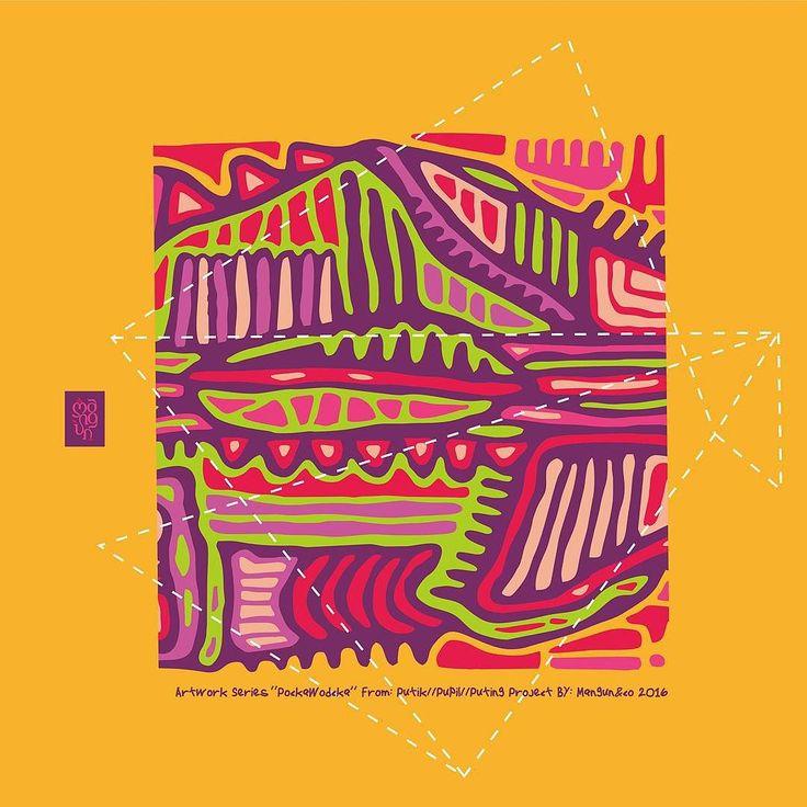 """PockaWodcka"" Artwork Series Number #5 from #PutikPupilPuting project by: Mangun&Co.  Now Available Artprint on White Frame Size 20x20 cm. For Inqueries: Popomangun (Line). #artwork #series #pattern #illustration #artprint #2016 by popomangun"