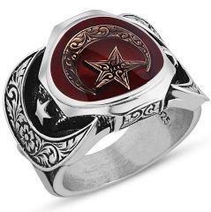 Kırmızı Mineli Ay Yıldız Simgeli Motifli 925 Ayar Gümüş Erkek Yüzük
