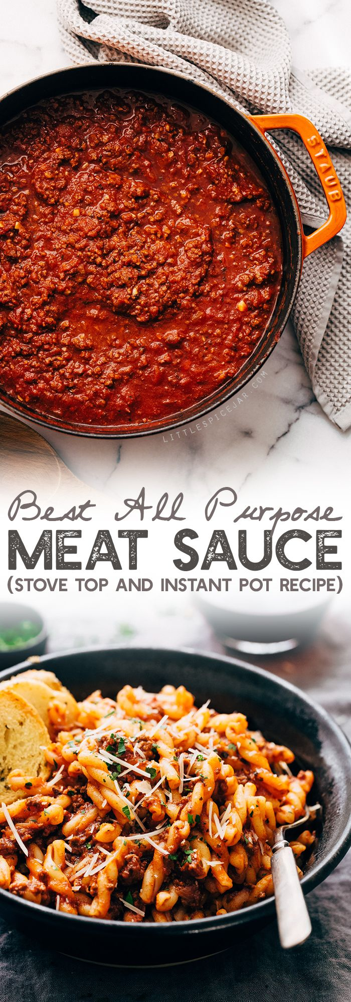 Easy Meat Sauce Recipe (Stove Top and Instant Pot) Learn how to make the most delicious homemade meat sauce. Use it in lasagna, stuffed shells, zucchini boats or on top of spaghetti! #spaghettsauce #bigbatchmeatsauce #meatsauce #ragu #bolognese   Littlespicejar.com
