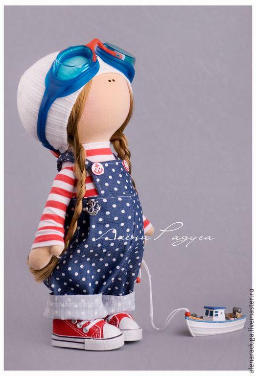 """Купить """"ВЕТЕР с МОРЯ"""" ... - темно-синий, текстильная кукла, девочка, тильда…"""