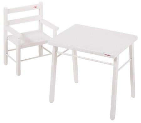 Pack Combelle : Table et chaise d´enfant, bois laqué blanc