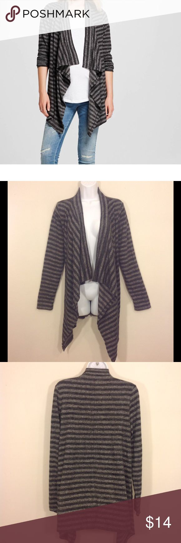 NWOT Striped Maternity Open Cardigan Fits S-M New without tags. This was a Target manufacturer sample.       Long sleeve, open flowy cardigan sweater  Tag Size:  S ( but can fit up to size M)  Fabric:  77% polyester, 21% rayon, 2% spandex Color:   black, gray         Pregnant, pregnancy, expecting, Liz Lange, cardigan, sweater  . Liz Lange for Target Sweaters Cardigans