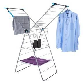 The Minky X-Tra Wing indoor airer features multi-positional arms for all your drying needs - ideal for longer items as well as flat drying of delicates. This airer offers 24 metres of hanging space comprising of 36 rungs plus 4 unique flip out corners that hold in total 12 extra long hanging items on coat hangers. The flat drying section is ideal for drying delicate fabrics and the sockies can be used for drying smaller items. It is made from extra strong tubular steel, so it remains safe…