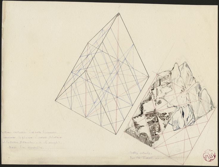 Half of a rhombohedron. Remains of a crystal system separating the glacier of Envers Blaitière Vallée Blanche. Eugène Viollet-le-Duc. n.d. Ink (black, red and blue)