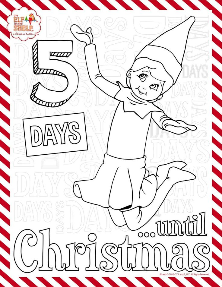 5 more days elf on the shelf coloring sheet
