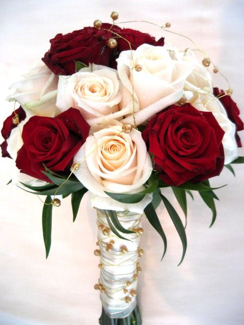 Classy cream and deep red roses bouquet Chanan's Floral Events