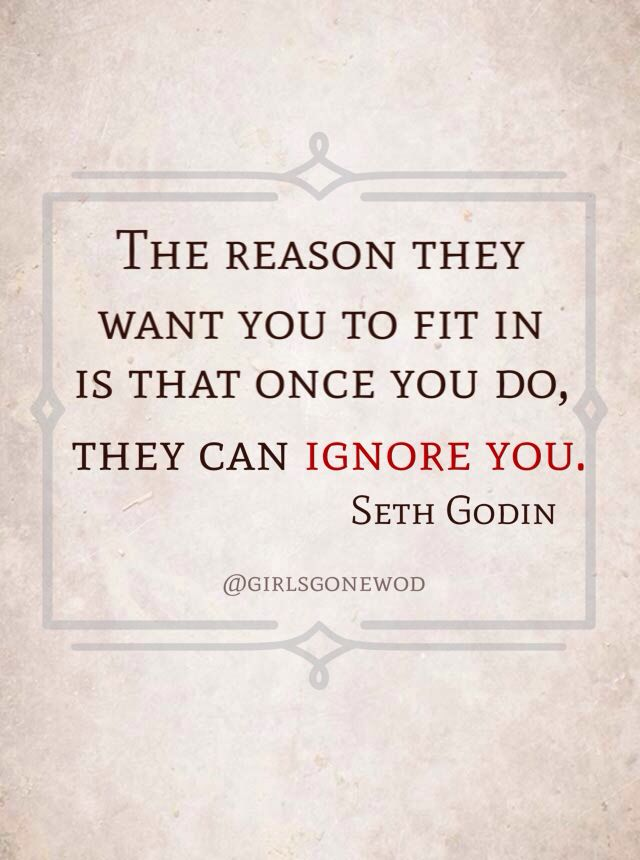 """The reason they want you to fit in is that once you do, they can ignore you."" Seth Godin #quotes #sethgodin"