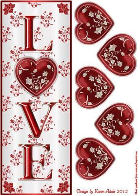 Valentine Love Large Tall DL Card Front with 3D Heart on Craftsuprint designed by Karen Adair - This design makes a large, tall DL card front with the word LOVE on and features a card front and the elements to make a 3D embellishment. The elements all fold in half and are glued together. When opened out flat, you have a gorgeous embellishment, (much like the old fashioned Christmas decorations I used to have as a child), to place on your card. These are really easy to make, but the result…