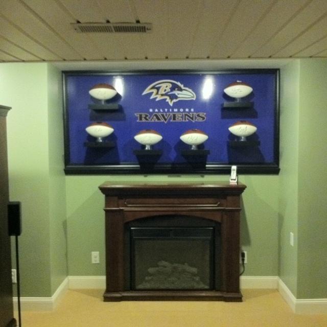 Ravens Man Cave Ideas : Ravens autographed football display my husband built for