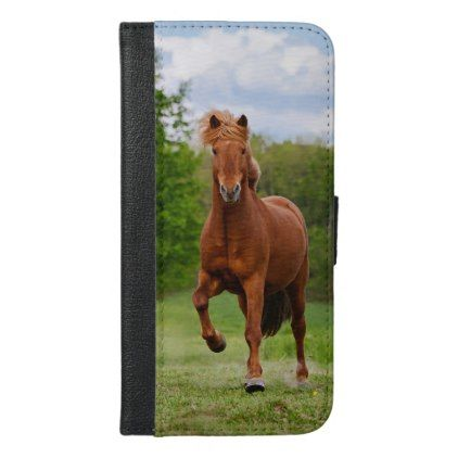 Icelandic Pony at a Tölt Funny Photo Horse Lovers iPhone 6/6s Plus Wallet Case - animal gift ideas animals and pets diy customize