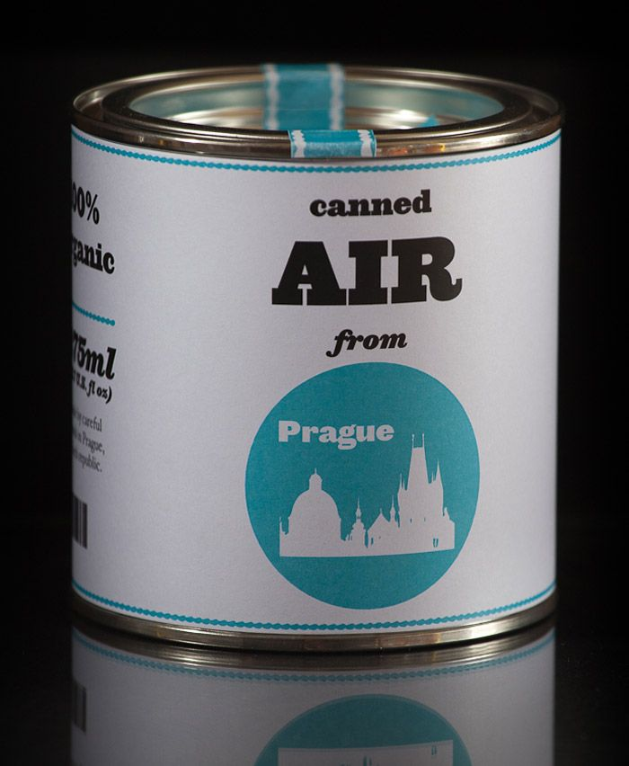 """""""The """"AIR from PRAGUE"""" is a middle-sized can filled with the spirit of the city, a piece of world heritage. The can is 88 mm (3,46 in) high and 86mm (3,38 in) in diameter."""