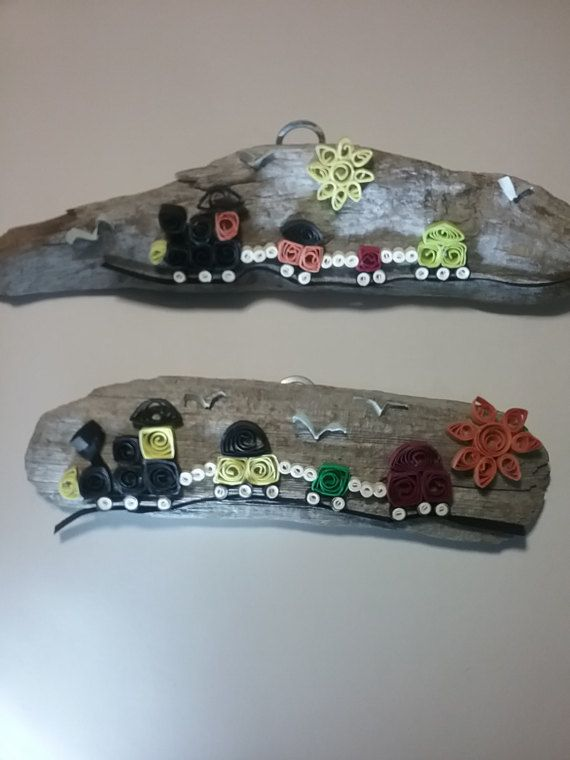 Check out this item in my Etsy shop https://www.etsy.com/listing/496840544/quilled-paper-train-driftwood-hanger