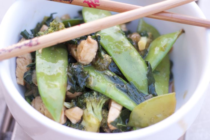 Chicken, Broccoli, Kale, and Snow Pea Stir Fry  Ingredients: 2 large chicken breasts ½ cup soy sauce ¼ cup Hoisin sauce 3 tablespoons rice wine vinegar 1-2 tablespoons sesame oil 1 onion, diced 4 cloves garlic, minced 8-10 leaves kale, 1 head broccoli 1 cup snow peas pepper + cayenne + garlic powder