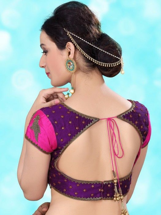 Purple Raw Silk Designer Ready Made Blouse