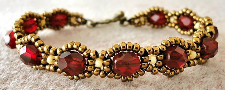 Linda's Crafty Inspirations: Bracelet of the Day: Waves of Wonder - Garnet sb toho11/0'sb miyuki 11/0 fire polish 6 mm