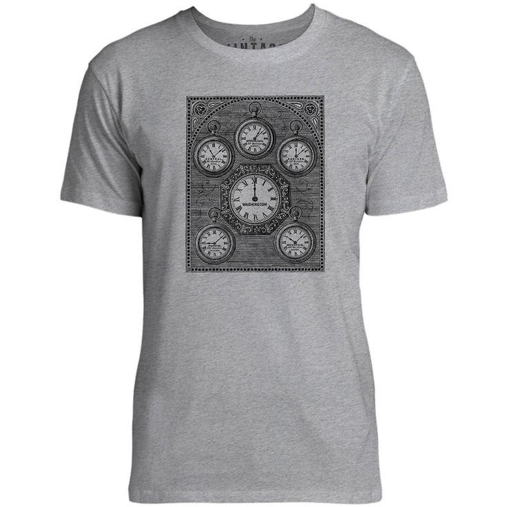 Mintage Antique International Clock Mens Fine Jersey T-Shirt (Grey Marle)