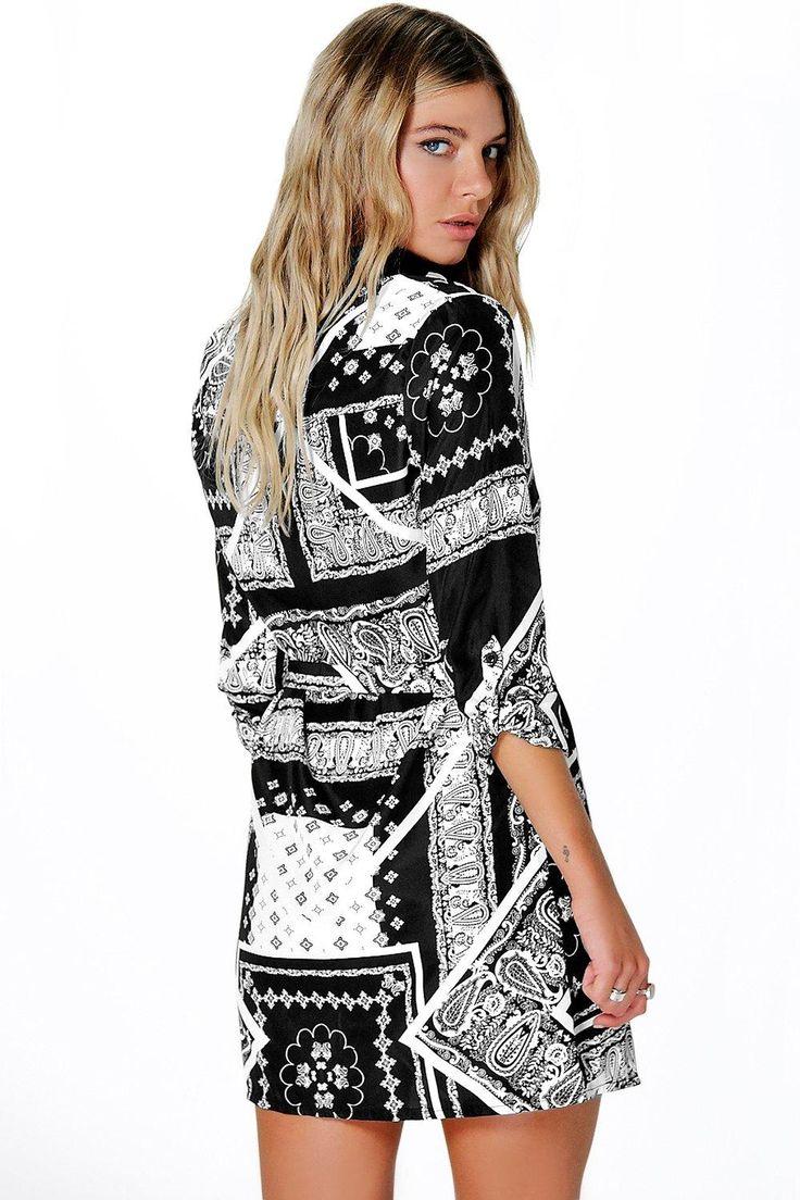 Ramone Mono Print Belted Shirt Dress at boohoo.com