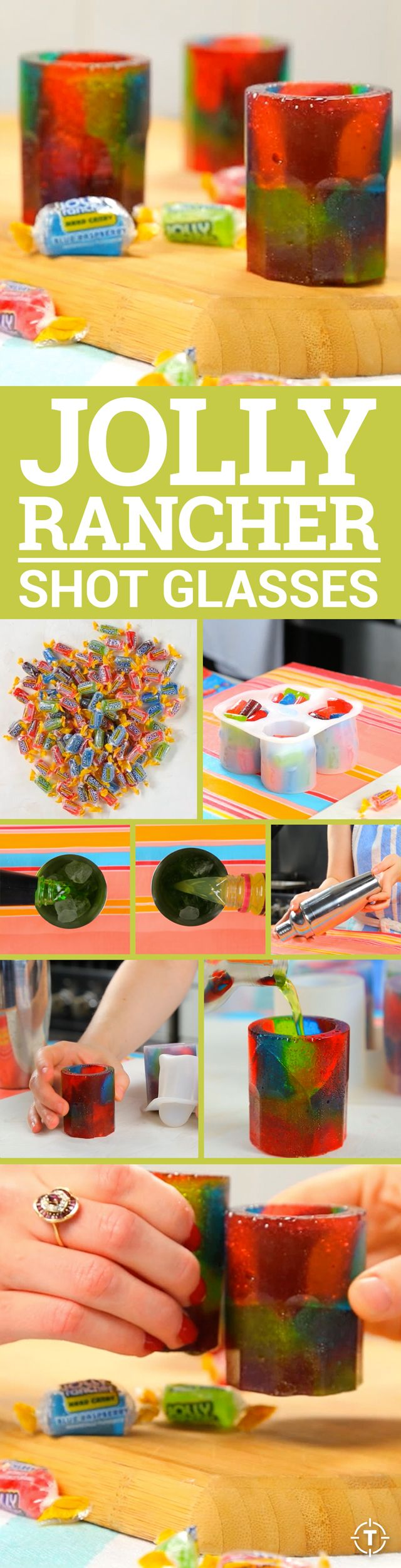 All you need is a silicone shot glass mold, a handful of Jolly Ranchers, an oven, and nine minutes.