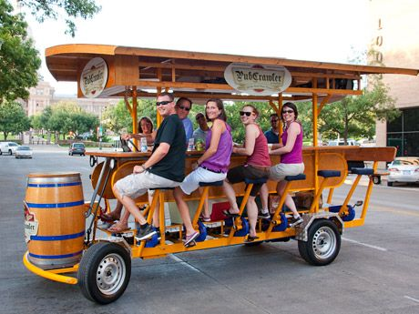 PubCrawler in Austin: a bike contraption with room for fifteen that serves beer as you pedal (steered by a sober professional).