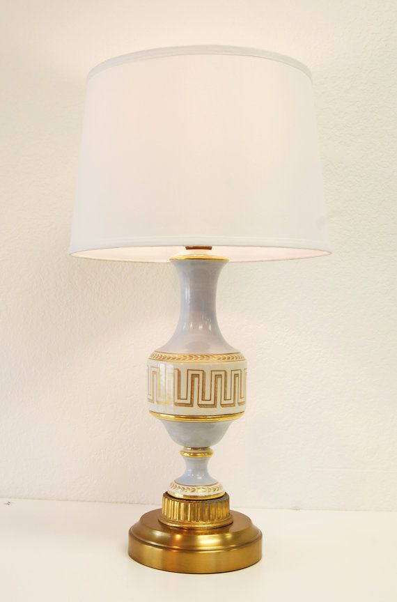 Cordless vintage regency style decal porcelain table lamp