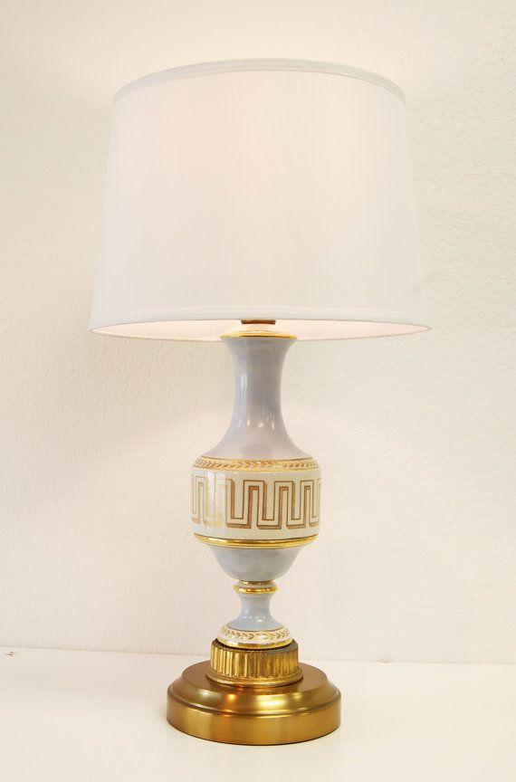Cordless vintage regency style decal porcelain table lamp