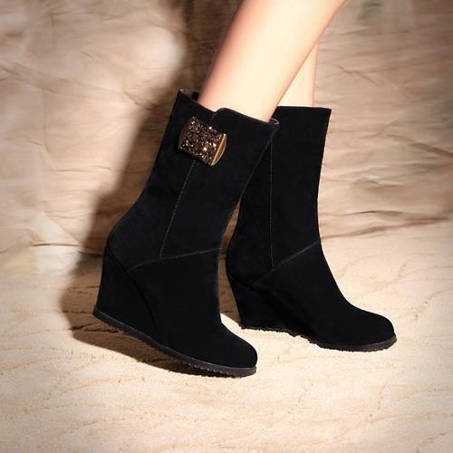 Европа и америка стиля ультра-короткие высокая высокие каблуки женщины сапоги алмаз форма металлические украшения клинья высокие каблуки до щиколотки сапоги