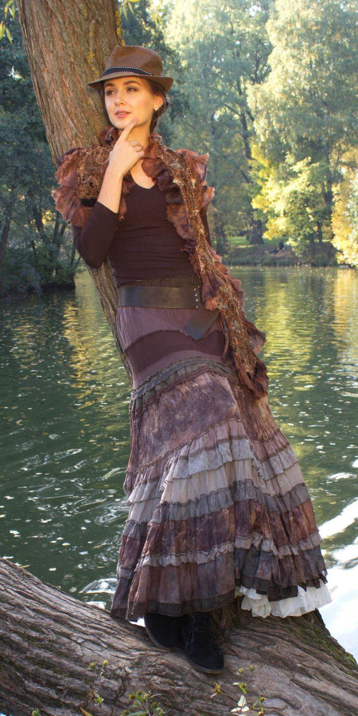 Многоярусная длинная живописная шелковая юбка в стиле бохо серо-коричневого цвета by AllaSilk on Etsy