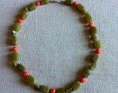 Girocollo di giadeite e corallo rosa-arancio del Pacifico : Collane di my-jewels