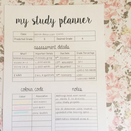 this is page one of my five page study planner printable! 🖨 can be downloaded from my blog, link in bio! #theorganisedstudent