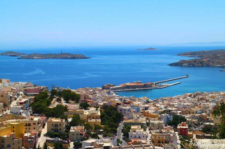 The harbor of Ermoupoli seen from the top of Ano Syros