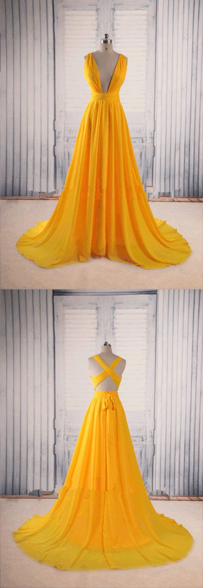 Prom Dresses,Evening Dress,Yellow Prom Dresses,Backless Prom Gown,Open Back Evening Dress,Chiffon Prom Dress,Sexy Evening Gowns,Yellow Formal Dress,Wedding Guest Prom Gowns #longpromdresses