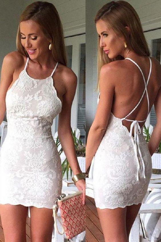 White Lace Homecoming Dresses,Sheath Mini Homecoming Dress,Cute Gradaution Dress